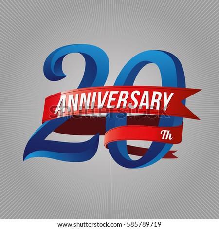 Twenty Years Anniversary Logo Red Ribbon Stock Vector 585789719