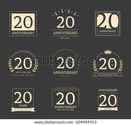 Twenty Years Anniversary Logotypes Badges 20th Stock Vector