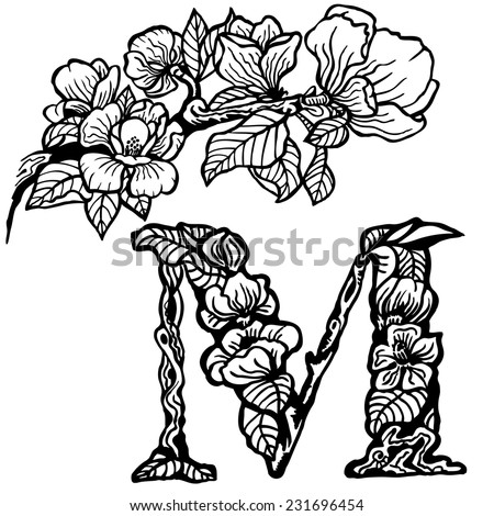 Twig of magnolia flowers and leaves. Litera M. - stock vector