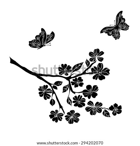 twig sakura blossoms and butterflies. Vector illustration - stock vector