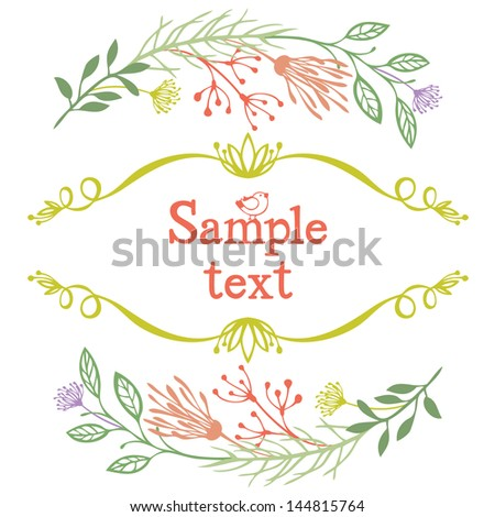 Twigs and leaves colored frame - stock vector