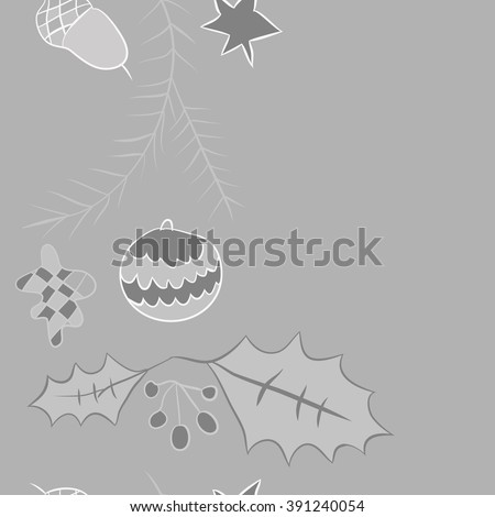 Twigs of spruce Christmas decorations , doodles, hole, balls, star, spots,leaves,acorn, vertical seamless pattern, Christmas decorations, copy space. Hand drawn.