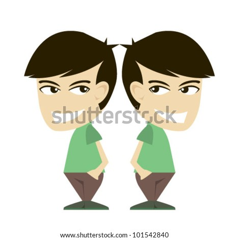 twin boys illustration vector