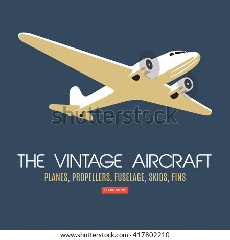 Twin engine passenger plane. For label and banners. Vintage style. Vector illustration. - stock vector