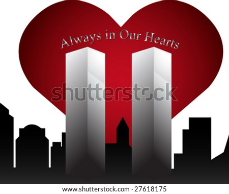 Twin Towers Memorial with Text - stock vector