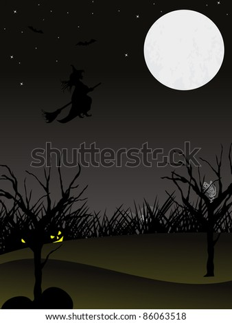 twinkle star background with hanging pumpkin on dry tree, witch flying with their hornbroom