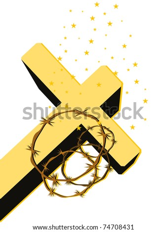 twinkle star background with isolated cross, crown of throns