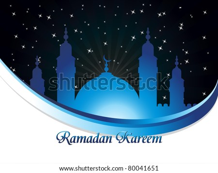 twinkle star background with mosque