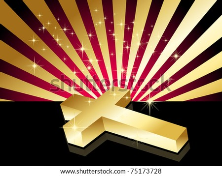twinkle star, rays background with isolated shiny golden cross - stock vector