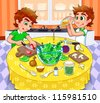 Twins are preparing a green salad.  Vector and cartoon illustration. - stock vector