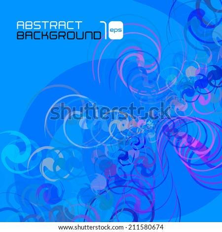 Twirl abstract blue background for business presentation. Vector illustration. - stock vector