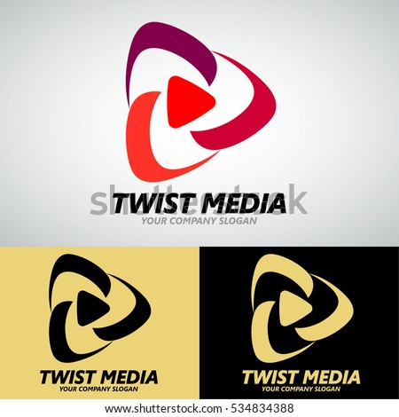 Twist Media Logo Design for Creative Business, Video Media, On-line Television Chanel, etc. Vector Logo Template.