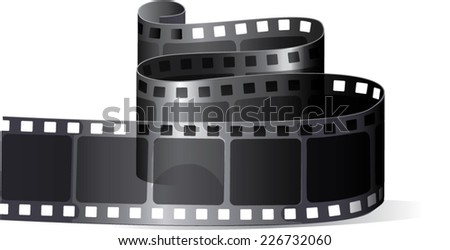 Twisted film. Camera film roll, vector illustration - stock vector