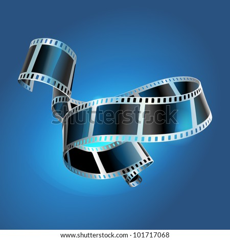 twisted film for photo or video recording on blue background vector illustration - stock vector