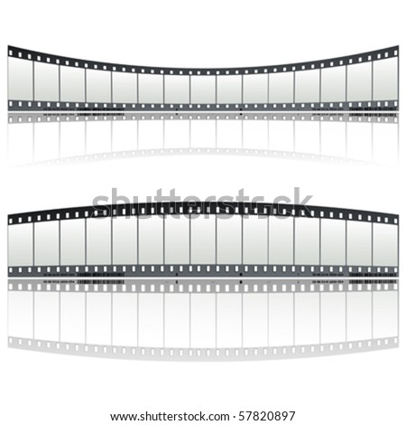 Twisted film strip decoration over white background
