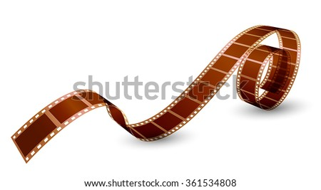 twisted film strip on white background - stock vector
