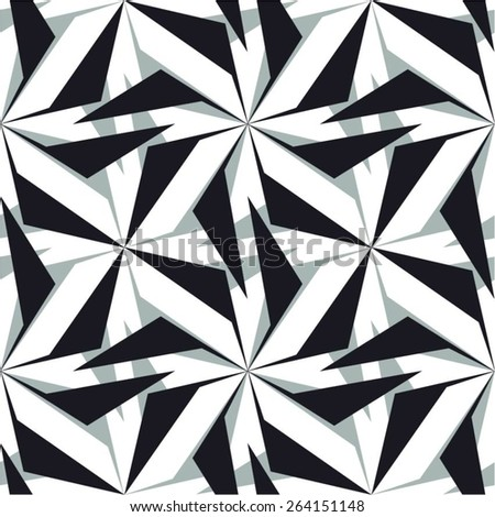 Twisted geometric elements in the pattern, seamless vector background.