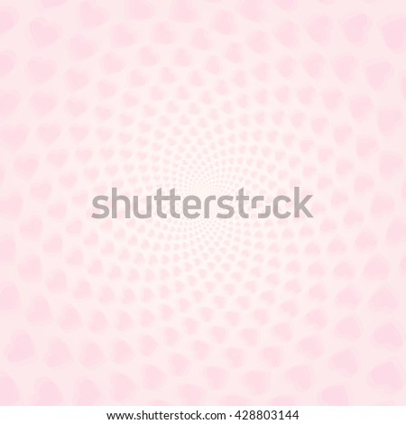 Twisted hearts with tunnel effect. Vector light pink hearts wallpaper.  Pink heart tunnel wallpaper. - stock vector