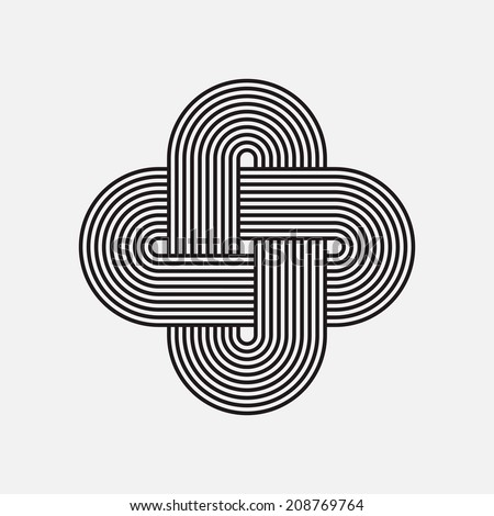 Twisted lines, vector element, intertwined pattern, isolated object - stock vector