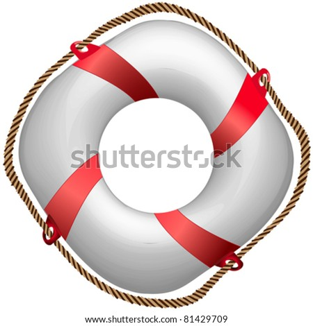 twisted red life buoy, abstract vector art illustration - stock vector