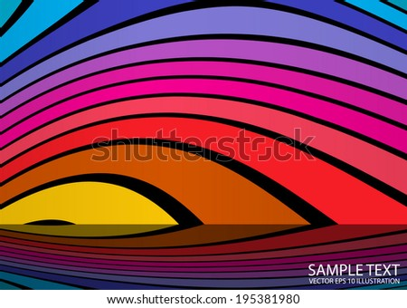 Twisted vector rainbow colored arcs reflected - Abstract curvatures rainbow background illustration - stock vector