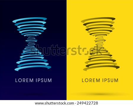 Twister, tornado ,hurricane, whirlwind, storm, designed using blue and black  line, logo, symbol, icon, graphic, vector. - stock vector