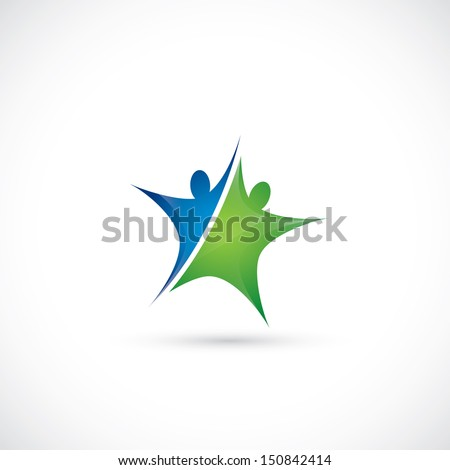 Two abstract athletes forming star - vector illustration - stock vector