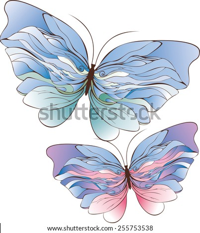 Two abstract butterflies drsign - stock vector