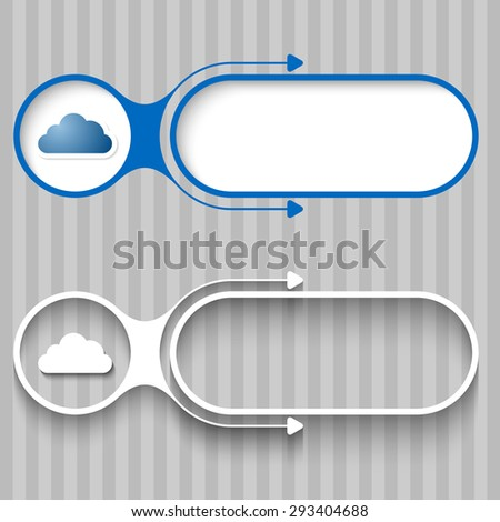 Two abstract frames with arrows and cloud - stock vector