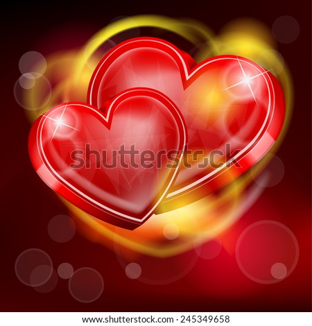 two abstract hearts for Valentines Day - stock vector