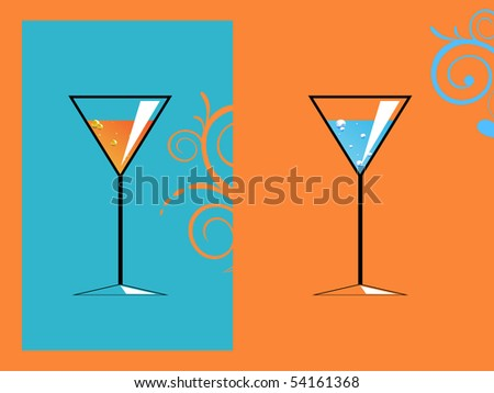 two abstract martini drinks - stock vector