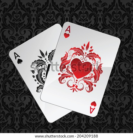 two aces playing cards on seamless damask pattern(hearts overlies)