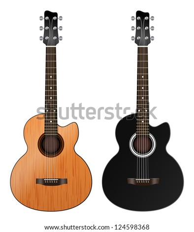 two acoustic guitars on a white background - stock vector