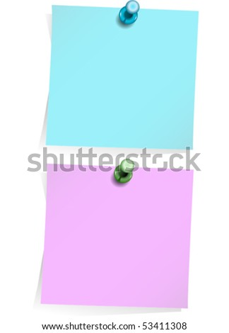 Two adhesive notes with thumbtack isolated on white