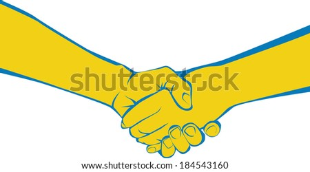 Two adults shaking hands symbolizing meeting, greeting, parting, offering congratulations, expressing gratitude, or completing an agreement. - stock vector