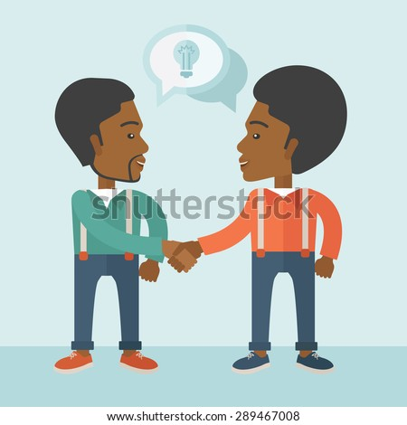 Two Afircan-american guys standing facing each other handshaking for the successful business deal. Business partnership concept. A Contemporary style with pastel palette, soft blue tinted background - stock vector
