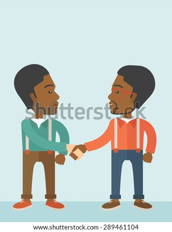 Two African-american guys standing facing each other handshaking for the successful business deal. Business partnership concept. A Contemporary style with pastel palette, soft blue tinted background - stock vector