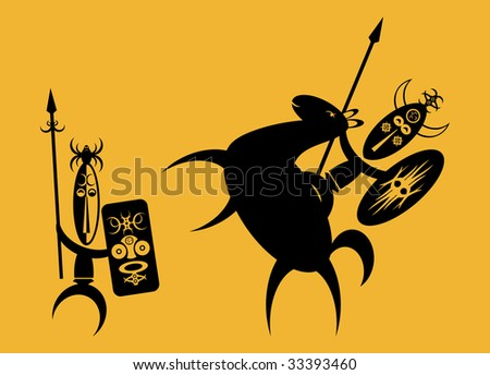 Two African warriors fighting with spears and shields