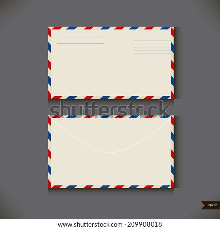 Two airmail envelope on gray background. Vector illustration - stock vector