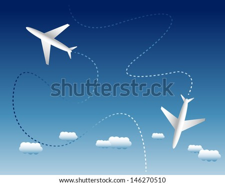 Two airplanes and clouds - stock vector