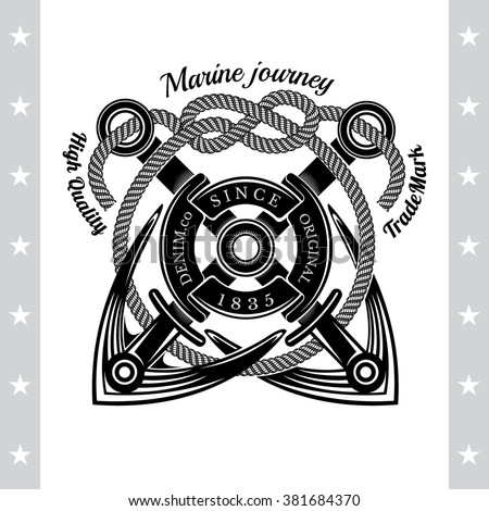 Two Anchors Cross With Rope. Sea Vintage Black Label Isolated On White - stock vector