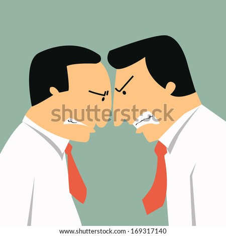 Two angry businessmen head butting in business concept in conflict and confrontation.  - stock vector