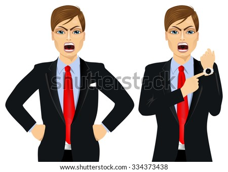 Two angry businessmen holding hands on hip and pointing finger to his wristwatch showing the time and yelling. Arriving late concept - stock vector