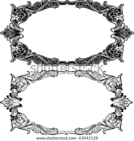 Two Antique Frame Engraving, Scalable And Editable Vector Illustration - stock vector
