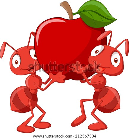 Two ants holding red apple - stock vector