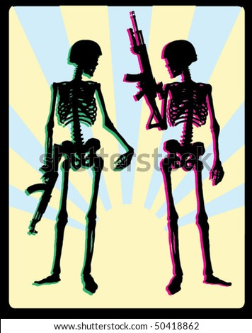 Two armed soldiers skeleton on the background of the rising sun - stock vector