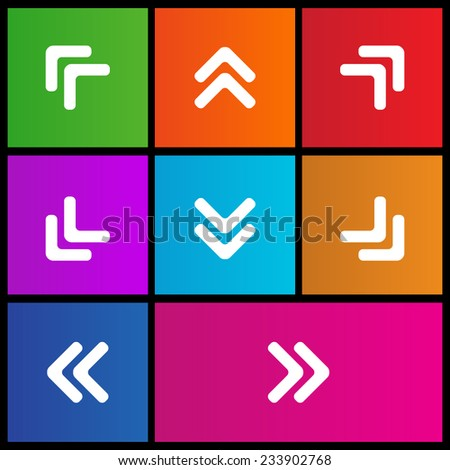 Two Arrow Head point pointing icon right, left, up, down. Metro style - stock vector