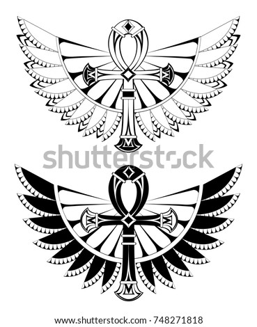 Two artistically drawn, contoured ankhs with wings on a white background. Tattoos style. Element of design. Egyptian Cross. Black ankh