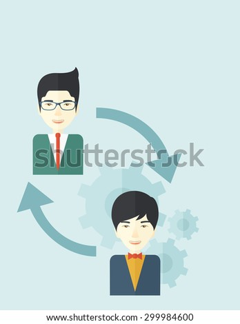 Two asian men in exchanging ideas. Partnership concept. A contemporary style with pastel palette soft blue tinted background. Vector flat design illustration. Vertical layout with text space on top - stock vector