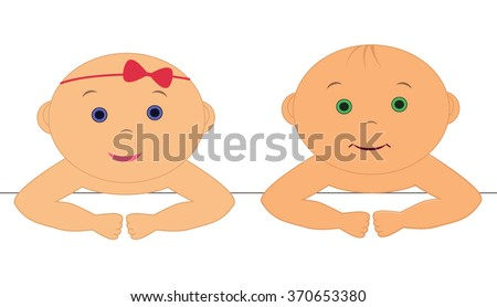 Two baby a boy and girl - stock vector